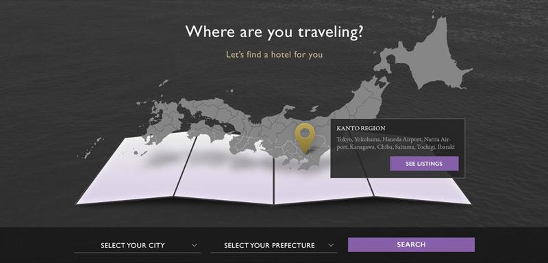 APA Hotels Japan website interactive map