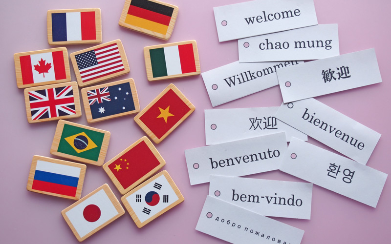 International flags and greetings